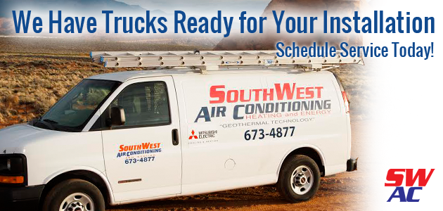 Southwest Air Conditioning has trucks ready for your Air Conditioning installation near Washington, UT.
